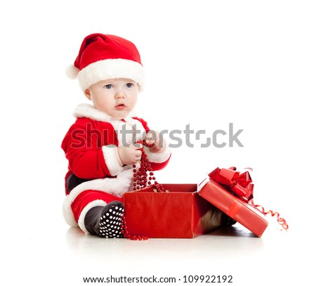 Santa Claus baby with gift box isolated on white background - stock photo