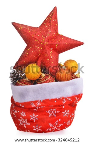 Santa claus bag wit christmas toys and red top star isolated over white background - stock photo