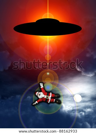 Santa Claus being abducted by a UFO.