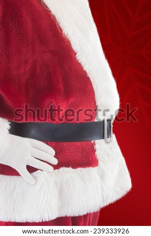 Santa Claus belly from the side against red background