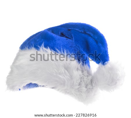 Santa Claus blue hat isolated on white background  - stock photo