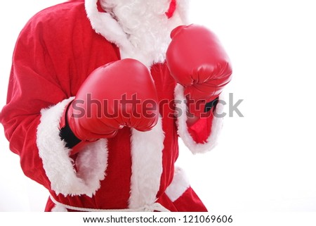 Santa Claus boxing Isolated on white background. - stock photo
