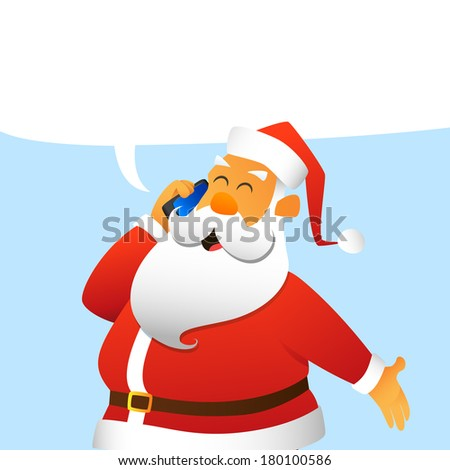 Santa Claus calling by mobile phone - stock photo