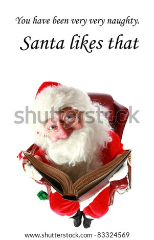 Santa Claus checks who has been naughty or nice in his big book. shot with a fisheye lens for a fun festive event. isolated on white with room for your text - stock photo