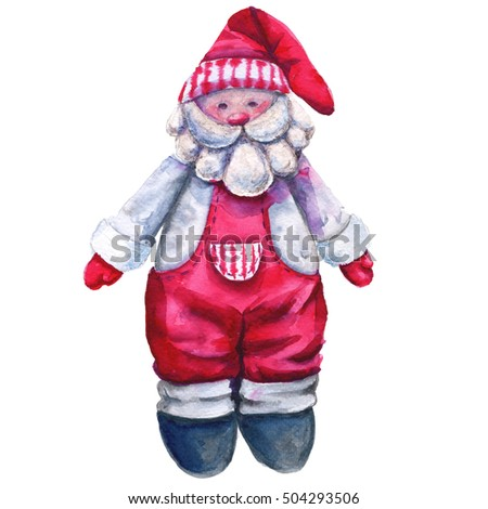 Santa Claus. Children's soft toy. Isolated on a white background. Watercolor illustration.
