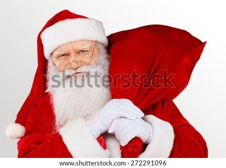 Santa Claus, Christmas, Bag. - stock photo
