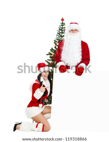 Santa Claus christmas girl, tree hold white board with empty copy space for text, with presents new year gift box. full length isolated on white background - stock photo