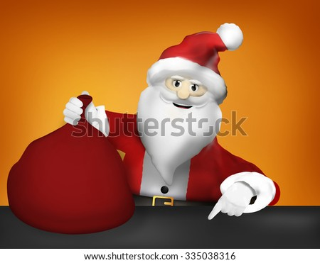 Santa Claus Christmas pointing to and Gifts festive design
