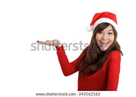Santa Claus Christmas Woman holding product on white background - stock photo