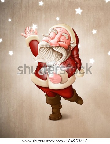 Santa Claus collects the luminous stars - stock photo