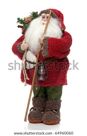 Santa Claus doll isolated on white background. - stock photo