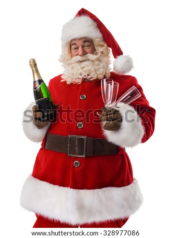 Santa Claus drinking champagne Closeup Portrait - stock photo
