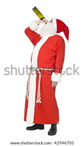 Santa claus drinking wine isolated on a white background - stock photo