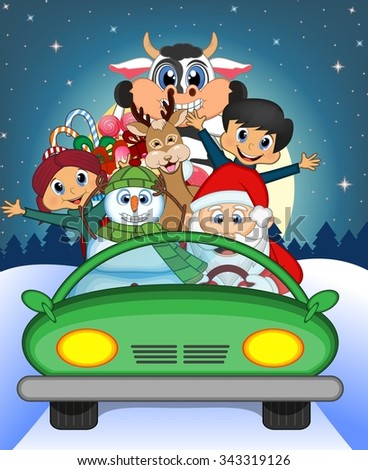 Santa Claus Driving a Green Car Along With Reindeer, Snowman, Children, and Full Moon At Night Brings Many Gifts Illustration - stock photo