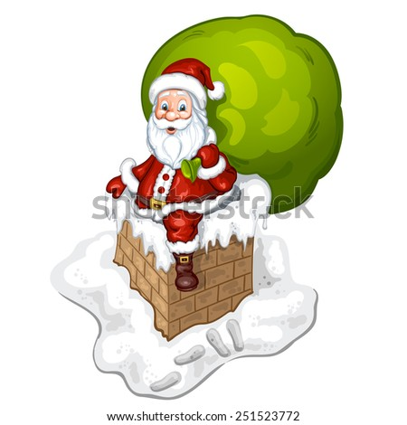 Santa Claus entering the chimney - stock photo