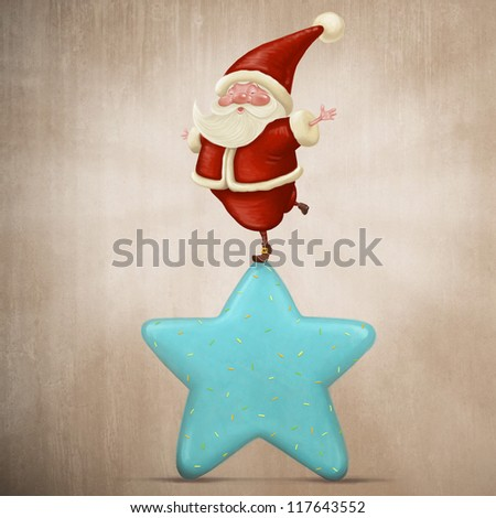 Santa Claus equilibrium on a sweet candy star - stock photo