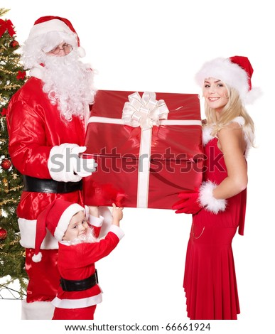 Santa claus family with child. Isolated. - stock photo