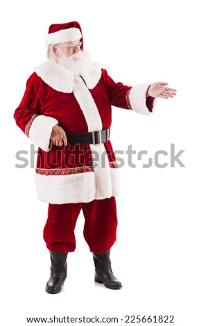 Santa Claus Gesturing To Side On Left - stock photo