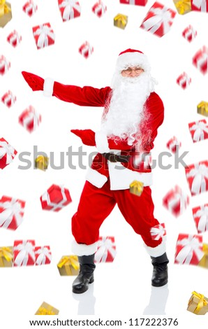 Santa Claus gift box present fall fly around, point finger glove to side at copy space isolated over white background, concept of christmas new year sale shopping - stock photo