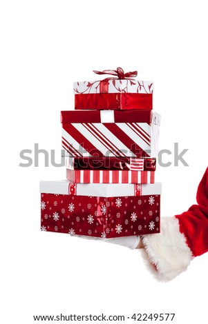 Santa Claus giving Christmas gifts wrapped in red and white on a white background - stock photo