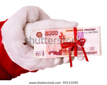 Santa Claus hand with  money (Russian rouble). Isolated. - stock photo