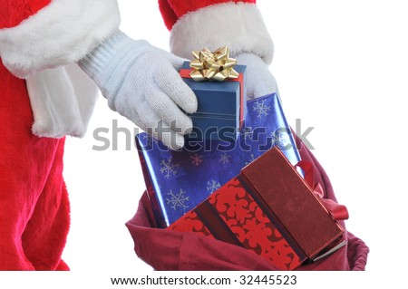 Santa Claus Hands and Bag with Presents Close up isolated on white - stock photo