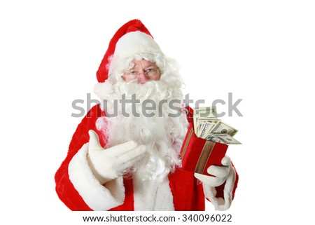 Santa Claus has a gift box filled with money. isolated on white with room for your text - stock photo