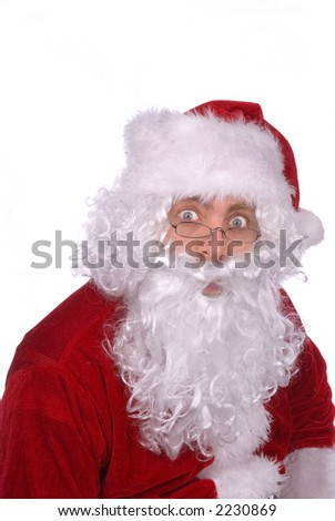 Santa Claus has a surprised look on his Jolly face - stock photo