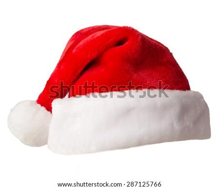 Santa Claus hats isolated on white background - stock photo