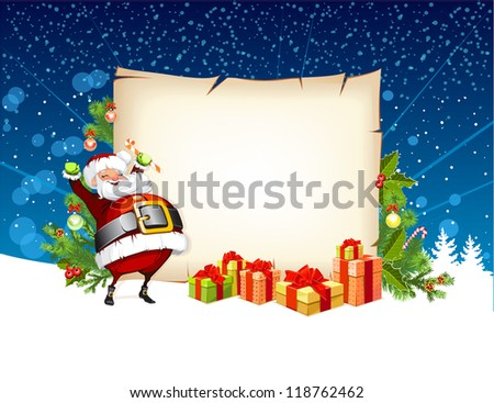 Santa Claus holding a candy and standing beside the scroll for gifts - stock photo