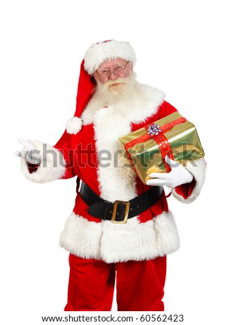 santa claus  holding a gift box studio shot on white - stock photo