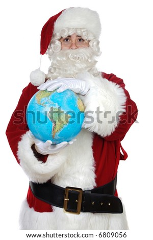 Santa Claus holding a globe over white background