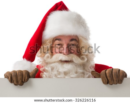 Santa Claus holding copyspace blank sign. Portrait Isolated on White Background - stock photo