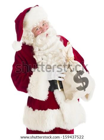 Santa Claus holding money bag - stock photo