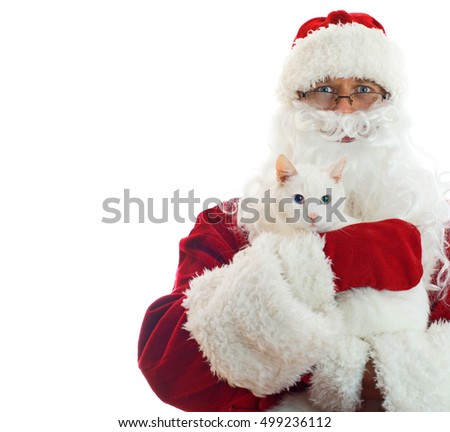 Santa Claus holding white cat. Space Isolated on white background.