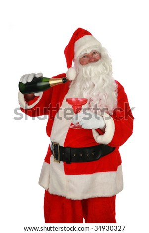 Santa Claus holds a bottle of champagne isolated on white room for your text - stock photo