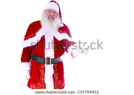 Santa Claus holds a ONE DOLLAR BILL out to you the viewer as your Christmas Gift from Santa Claus. Isolated on white with room for your text.