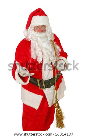 Santa Claus holds his hand out to You The Viewer isolated on white