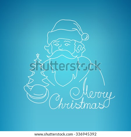 Santa Claus Holds in a Hand Christmas Tree, Merry Christmas  , Noel  on a Blue Background , Christmas Decoration, Linear Style Icon Santa Claus - stock photo