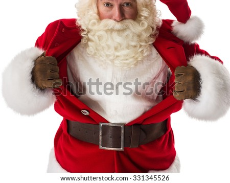 Santa Claus in a classic superman pose tearing his shirt open as a copyspace Closeup Portrait. Isolated on White Background - stock photo