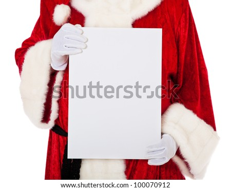 Santa Claus in authentic look holding blank white sign. All on white background.