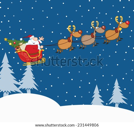 Santa Claus In Flight With His Reindeer And Sleigh In Christmas Night. Raster Illustration - stock photo