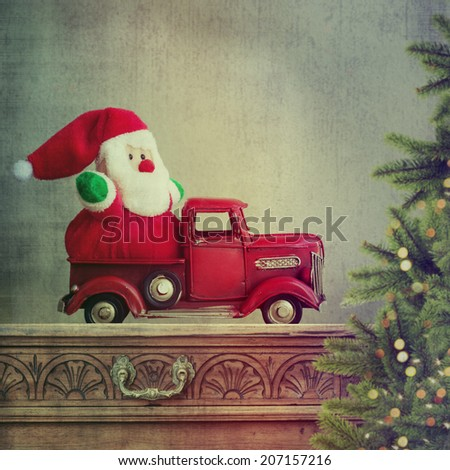 Santa claus in truck - stock photo