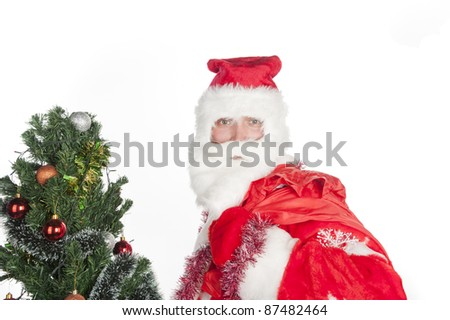 Santa Claus is a Christmas tree and holding a bag with gifts, festive mood, isolated over white