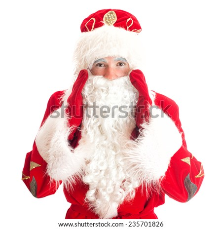 Santa Claus is calling someone. Isolated on white.