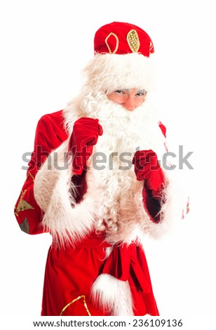 Santa Claus is preparing for fight. Isolated on white. - stock photo