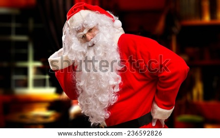Santa Claus is really tired - stock photo