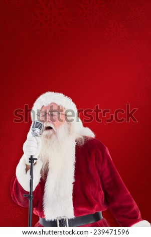 Santa Claus is singing Christmas songs against red background