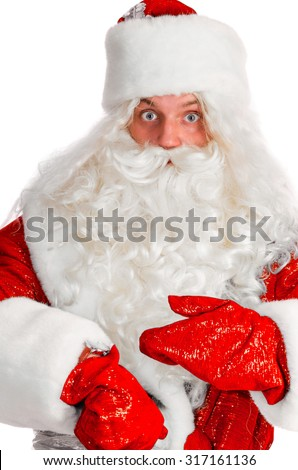 santa claus is taking a look on his watch, isolated on white
