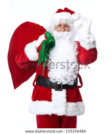 Santa Claus isolated on white background. Christmas holiday party. - stock photo